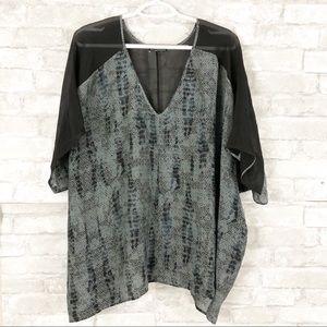 Eileen Fisher Black Gray Silk Flowy Blouse